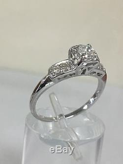 Vintage 14k White Gold Diamond Engagement Ring Old Mine Cut G/vs1