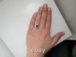 Vintage 14k White Gold Filigree Onyx Diamond Ring Antique