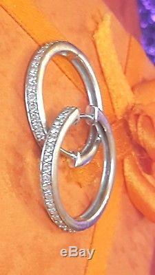 Vintage 14k White Gold Genuine Natural Diamond Earring Hoops Signed Ze