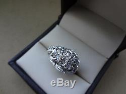 Vintage 14k White Gold Rose Cut Diamond Filigree Ring