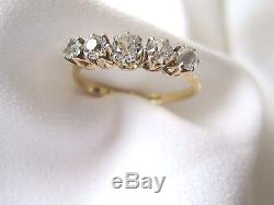 Vintage 18 carat gold and platinum ring five white sapphire