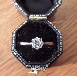 Vintage 18ct Gold Platinum Diamond Solitaire Ring 0.50ct Size L