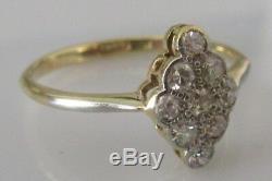 Vintage 18ct Gold Platinum Multi Damond, Diamond Shape Cluster Ring Size O