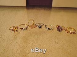 Vintage 18k, 14k, 10k diamond Ruby sapphire opal 7 ring lot-collection