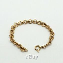 Vintage 18k Gold 750 Italy Round Textured Link Baby Child Grow With Me Bracelet