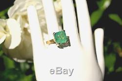 Vintage 18k Gold COLOMBIAN EMERALD Women's 7.25ct Estate Ring Sz 6 Antique