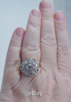 Vintage 1920s 14K Yellow Gold Platinum 1.41ct Miner Diamonds Ring Jewelry