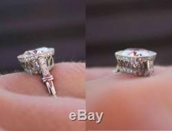 Vintage 2.25 Ct Diamond 14K White Gold Antique Art Deco Engagement Wedding Ring