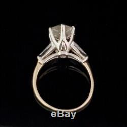 Vintage 2.25ct Diamond 14k Gold Engagement Ring Old European Cut Baguette 1950s