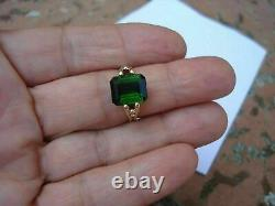 Vintage 2Ct Emerald Cut Green Emerald Solid 14K Yellow Gold Finish Wedding Ring