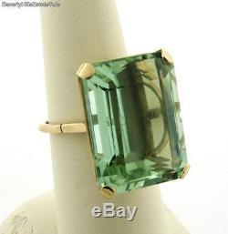 Vintage 31 Carat Green Blue Aqua Marine 18k Yellow Gold Ring