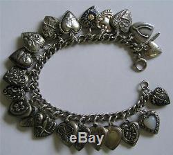 Vintage 40s Sterling Silver Enamel PUFFY HEART Charm Bracelet 21 Hearts 7.5