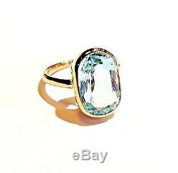 Vintage 5 Carat Natural Aquamarine Ring Cushion Cut Solid 14K Yellow Gold