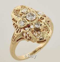 Vintage. 53 Carat Round Brilliant Diamond Ring 14K Yellow Gold size 8 Fancy