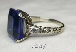Vintage Antique 14k White Gold Ring 5.85ct. Gem Blue Sapphire In Emerald Cut