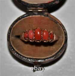 Vintage Antique 9 ct gold graduated 5 stone pink coral ring size S