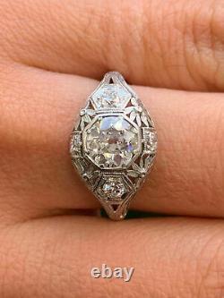 Vintage & Antique Art Deco Engagement Fine Ring 14k White Gold Over 2 Ct Diamond