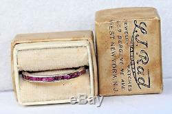Vintage Antique Art Deco Platinum 1.05 Carat Ruby Eternity Band Ring Size 8.5