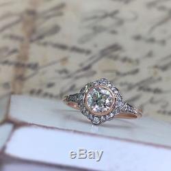 Vintage Antique Art Deco White 2.0 Ct Moissanite Fine 14K White Gold Over Ring