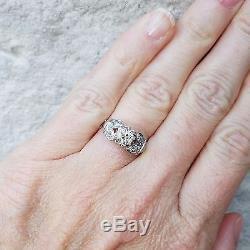 Vintage Antique Old European Diamond Platinum Engagement Ring Art Deco