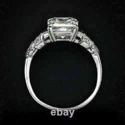 Vintage Antique Retro Engagement Ring 2.1 Ct Asscher Diamond 14K White Gold Over