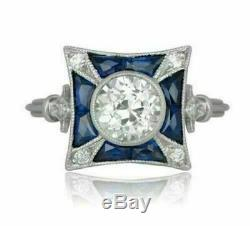Vintage Antique Retro Wedding Art Deco Ring 2 Ct Round Diamond 14k White Gold Fn