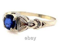 Vintage Antique Sapphire Engagement Ring. 65ct 18K White Gold Art Deco