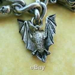 Vintage Antique Sterling Silver Charm Bracelet Halloween Nuvo Chim James Avery