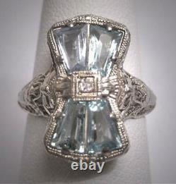 Vintage Aquamarine 6.00ct Gemstone Estate Art Deco Antique Wedding 1920 Bow Ring