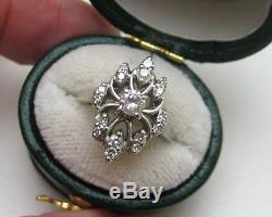 Vintage Art Deco 14k White Gold. 40 Ctw Diamond Cluster Ring