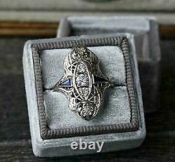 Vintage Art Deco 14k White Gold Over Engagement Wedding Ring 2 Ct Round Diamond