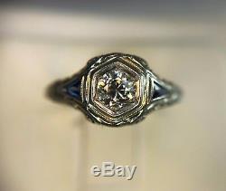 Vintage Art Deco 18k White Gold Old European Diamond Sapphire Filigree Ring