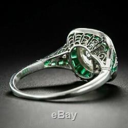 Vintage Art Deco 2.7Ct Round Antique Engagement Wedding Ring 14k White Gold Over