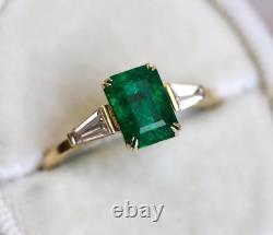 Vintage Art Deco 3.10 ct Green Emerald & Diamond Antique Engagement Wedding Ring