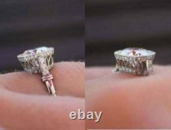 Vintage Art Deco 3.52Ct White Round Cut Diamond Engagement Ring 14k White Gold