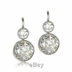 Vintage Art Deco 3.78 Ct Round Diamond 14K White Gold Over Dangle/Hoop Earrings