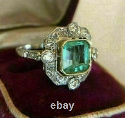 Vintage Art Deco 3Ct Asscher Green Emerald Engagement Ring 14K White Gold Over