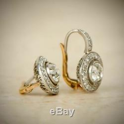 Vintage Art Deco Antique 2.0 Ct Diamond Halo Earrings 1920's 14k White Gold Over