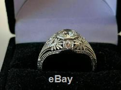 Vintage Art Deco Antique Engagement Ring Fine 14K White Gold Plated 2 Ct Diamond