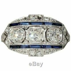 Vintage Art Deco Engagement Ring 2.40 Ct Diamond & Sapphire 14K White Gold Over