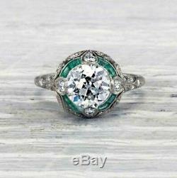 Vintage Art Deco Engagement Ring 2.78 Ct Round VVS1 Diamond 14k White Gold Over