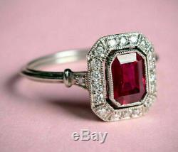 Vintage Art Deco Engagement Ring 2.89Ct Red Radiant Cut Ruby 14K White Gold Over
