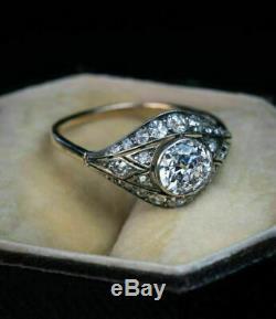 Vintage Art Deco Engagement Wedding Ring 1.9Ct Round Diamond 14K White Gold Over