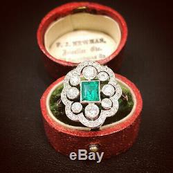 Vintage Art Deco Fine Engagement Wedding Ring 2Ct Emerald Diamond 14k White Gold