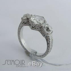 Vintage Art Deco Old European Cut 1.75ctw Diamond Engagement Filigree Ring