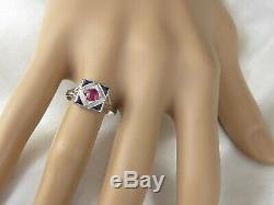 Vintage Art Deco Period Ruby Sapphire Ring 18K White Gold Retro Estate Antique