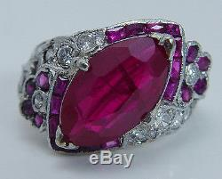 Vintage Art Deco Platinum 3cts center untreated Ruby Diamonds Ring
