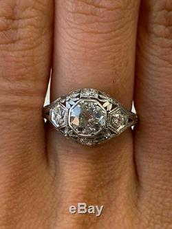 Vintage Art Deco Ring 14k White Gold Over Engagement & Wedding Ring 2Ct Diamond
