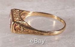 Vintage Art Deco Ruby & Diamond Ring 14K Yellow Gold Size 6.25