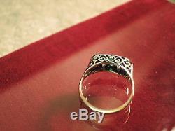 Vintage Art Deco estate emerald diamond 14k yellow & white gold filigree ring sz